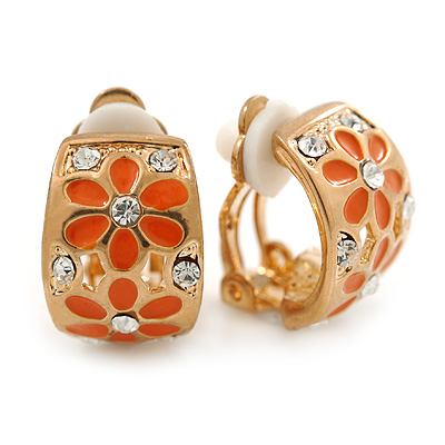 C-shape Crystal, Orange Enamel Floral Clip On Earrings In Gold Tone - 16mm L