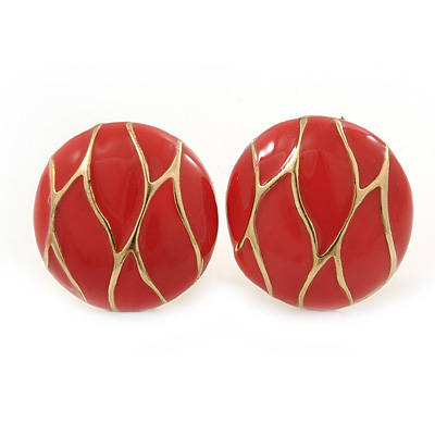 Orange Enamel Round 'Button' Stud Earrings In Gold Plating - 17mm Diameter
