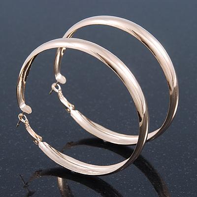 Large Polished Gold Plated Hoop Earrings - 70mm Diameter