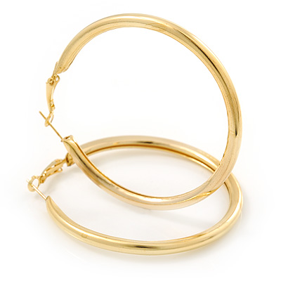 Large Classic Polished Gold Tone Hoop Earrings - 50mm Diameter