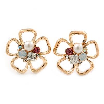 Open, Crystal 'Daisy' Stud Earrings In Gold Plating - 20mm Diameter