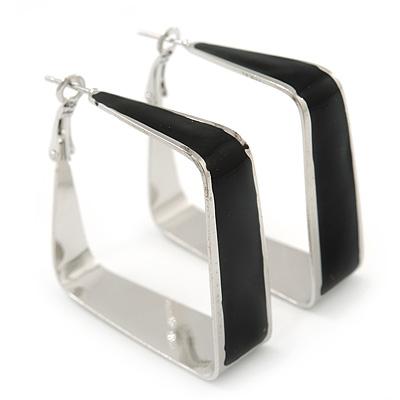 Contemporary Square Black Enamel Hoop Earrings In Rhodium Plating - 40mm Width - main view