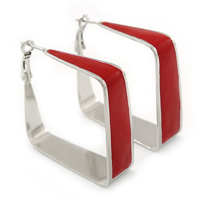 Contemporary Square Red Enamel Hoop Earrings In Rhodium Plating - 40mm Width - main view