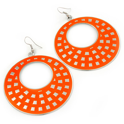 Large Lightweight Neon Orange Enamel Hoop Earrings In Rhodium Plating - 8cm Drop - main view