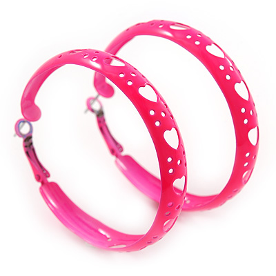 Medium Neon Pink Enamel Cut Out Heart Hoop Earrings - 50mm Diameter