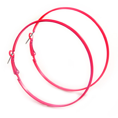 Large Deep Pink Enamel Flat Hoop Earrings In Silver Tone - 60mm Diameter