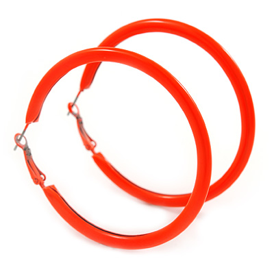Large Neon Orange Enamel Hoop Earrings In Silver Tone - 60mm Diameter
