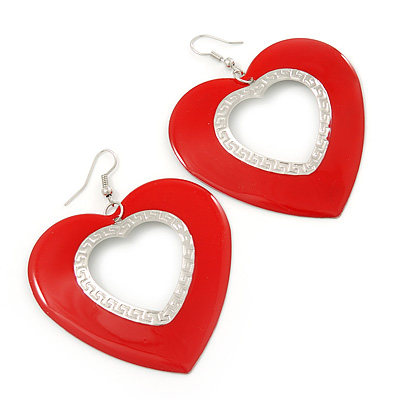 Large Red Enamel 'Heart' Hoop Earrings In Rhodium Plating - 70mm Drop - main view