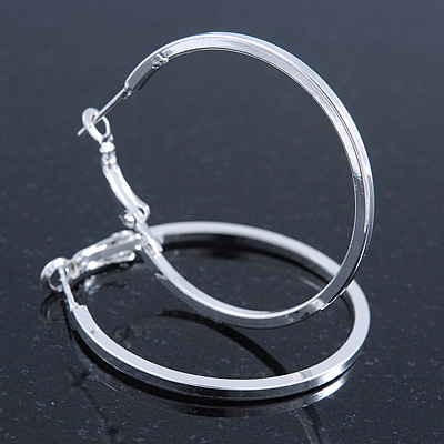 Medium, Thin Silver Tone Square Tube Round Hoop Earrings - 40mm D