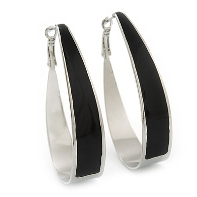 Rhodium Plated Black Enamel Oval Hoop Earrings - 6cm Length - main view
