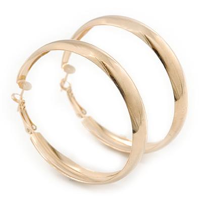 Large Polished Gold Plated Hoop Earrings - 50mm Diameter