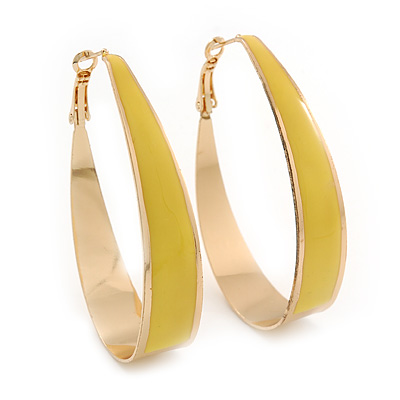 Gold Plated Yellow Enamel Oval Hoop Earrings - 6cm Length - main view