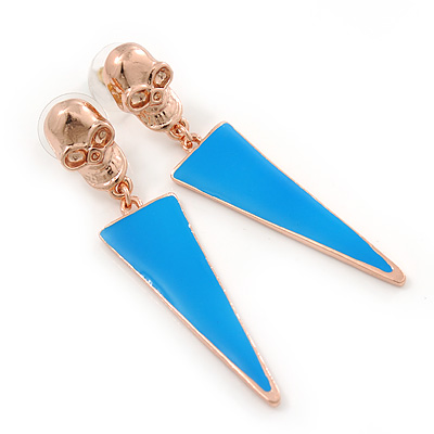 Blue Enamel Triangular Skull Drop Earrings In Gold Plating - 65mm Length