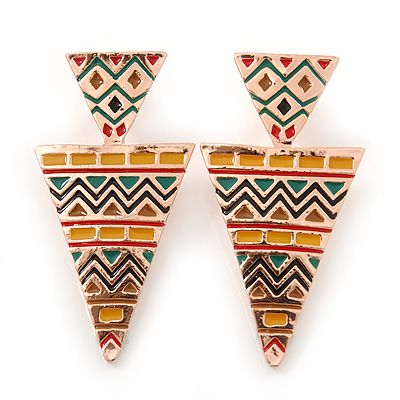 Yellow, Green Enamel Geometric Egyptian Style Drop Earrings In Gold Plating - 55mm Length - main view