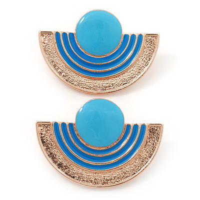 Light Blue Enamel 'Half Moon' Egyptian Style Stud Earrings In Gold Plating - 45mm Width