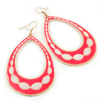 Long Lightweight Neon Pink/ White Enamel Oval Hoop Earrings In Gold Plating - 85mm Drop - main view