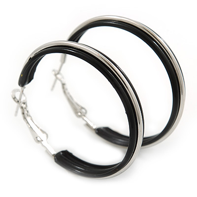Medium Black Enamel Hoop Earrings In Silver Tone - 40mm Diameter