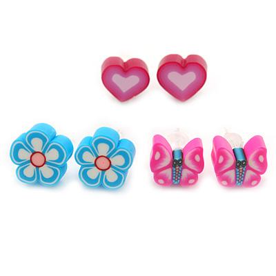 Children's/ Teen's / Kid's Fimo Pink Heart, Light Blue Flower & Pink Butterfly Stud Earrings Set - 10mm Across