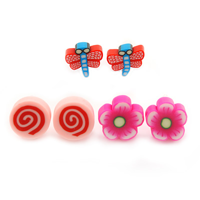 Children's/ Teen's / Kid's Fimo Deep Pink Flower, Pink Candy & Red/Blue Butterfly Stud Earrings Set - 10mm Across