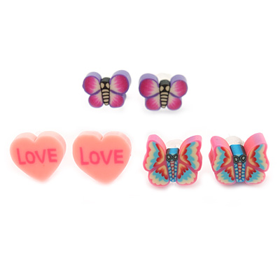 Children's/ Teen's / Kid's Fimo Pink Heart, Pink Butterfly & Purple Butterfly Stud Earrings Set - 10mm Across
