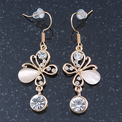Clear Crystal, Milky White Cat Eye Stone Butterfly Drop Earrings In Gold Plating - 50mm Length