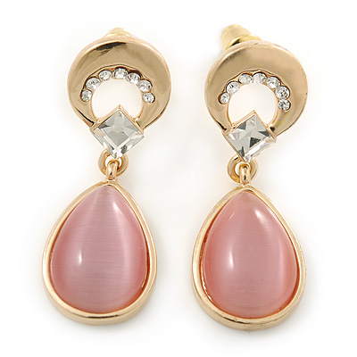 Pink Cat Eye Teardrop Earrings In Gold Plating - 33mm Length