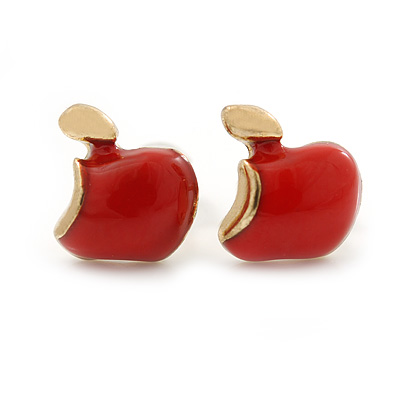 Children's/ Teen's / Kid's Tiny Red Enamel 'Apple' Stud Earrings In Gold Plating - 8mm Length