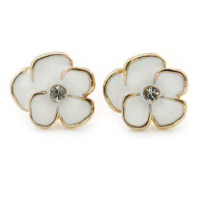 Children's/ Teen's / Kid's Small White Enamel 'Daisy' Stud Earrings In Gold Plating - 11mm Diameter