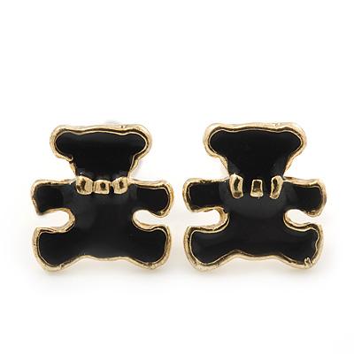 Children's/ Teen's / Kid's Tiny Black Enamel 'Teddy Bear' Stud Earrings In Gold Plating - 8mm Length