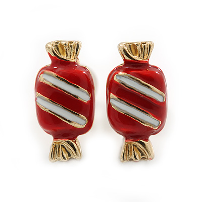 Children's/ Teen's / Kid's Tiny Red/White Enamel 'Candy' Stud Earrings In Gold Plating - 10mm Length