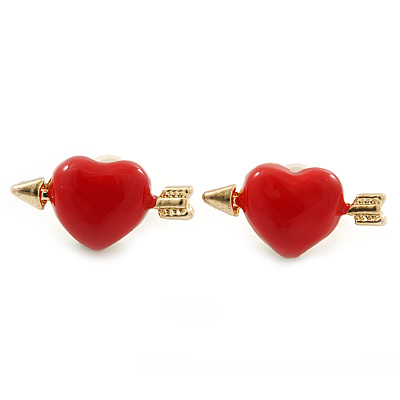 Children's/ Teen's / Kid's Small Red Enamel 'Heart And Arrow' Stud Earrings In Gold Plating - 16mm Width