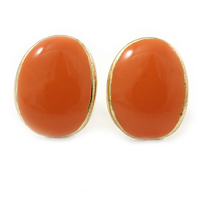 Children's/ Teen's / Kid's Small Orange Enamel Sweet Candy Stud Earrings In Gold Plating - 10mm Length