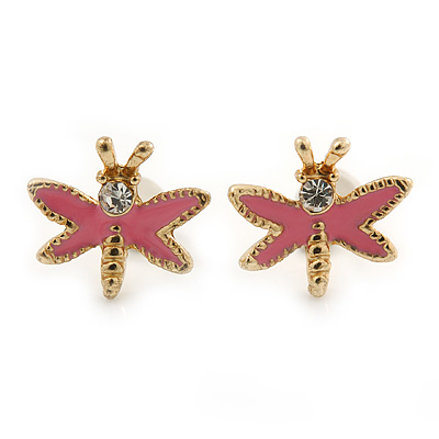 Children's/ Teen's / Kid's Small Pink Enamel 'Butterfly' Stud Earrings In Gold Plating - 10mm Width
