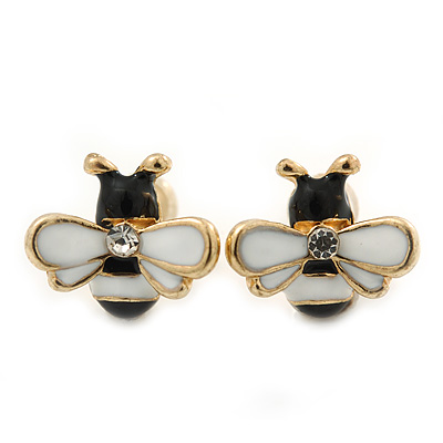 Children's/ Teen's / Kid's Tiny Black/ White Enamel 'Bee' Stud Earrings In Gold Plating - 10mm Diameter