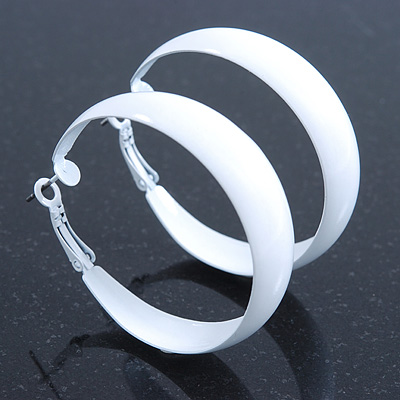 Wide Medium White Enamel Hoop Earrings 45mm Diameter Main View