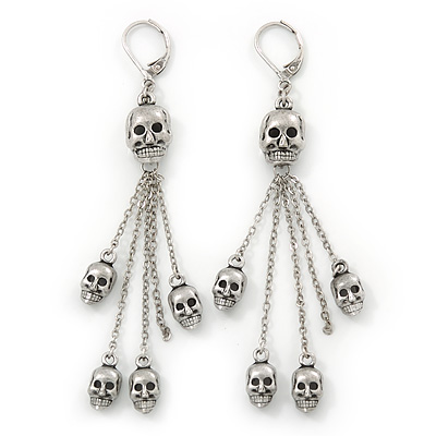 Silver Tone Gothic 'Multi Skull' Chain Dangle With Leverback Closure Earrings - 85mm Length
