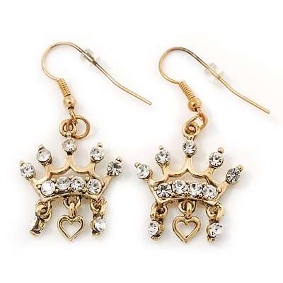 Gold Plated Crystal 'Crown' Drop Earrings - 45mm Length