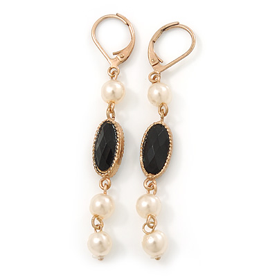 Vintage Inspired Simulated Pearl Beaded Drop Earrings With Leverback Closure In Gold Tone - 55mm Length - main view