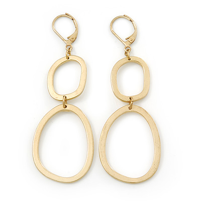 Gold Plated Round Link Drop Earrings With Leverback Closure - 70mm Length
