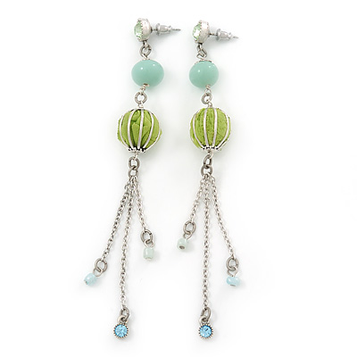Long Light Green Fabric, Light Blue Glass Bead Chain Dangle Earrings In Silver Tone - 11cm Length - main view