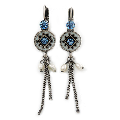 Vintage Inspired Blue Crystal, Freshwater Pearl, Chain Drop Earrings In Burn Silver With Leverback Closure - 50mm Length