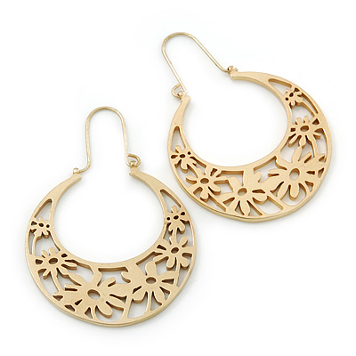 Matt Gold Floral Hoop Earring - 50mm Length
