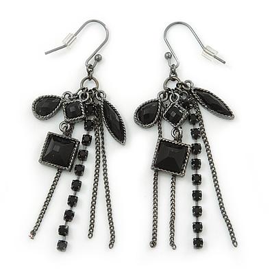 Victorian Style Black Bead & Chain Dangle Earrings In Gun Metal Finish - 60mm Length