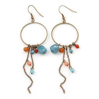 Antique Gold Semiprecious Bead, Chain Hoop Earrings - 12cm Length