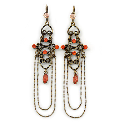 Long Vintage Inspired Carrot Diamante Chandelier Earrings With Leverback Closure In Burn Silver Tone - 11cm Length