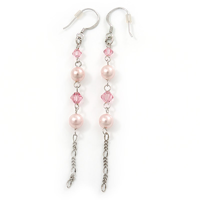 Long Pale Pink Simulated Pearl, Glass Bead Linear Drop Earrings 925 Sterling Silver - 8cm Length