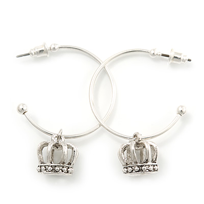 Silver Tone Hoop With Crown Drop Earrings - 30mm Diameter