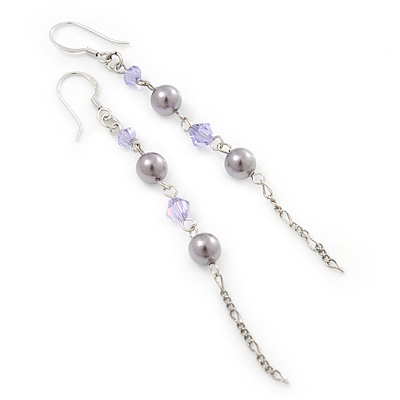 Long Lavender Simulated Pearl, Glass Bead Linear Drop Earrings In Silver Tone - 8cm Length