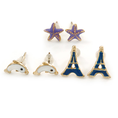 Children's/ Teen's / Kid's Dark Blue Eiffel Tower, Purple Starfish, White Dolphin Stud Earring Set In Gold Tone - 10-12mm