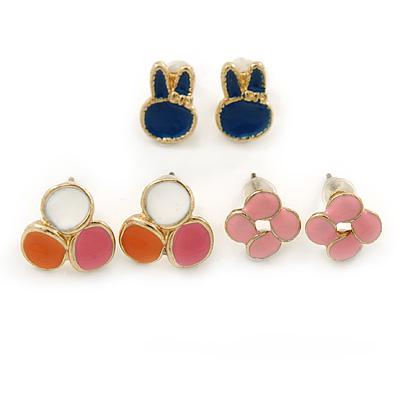 Children's/ Teen's / Kid's Blue Bunny, Pink Flower, Orange/ White Triple Circle Stud Earring Set In Gold Tone - 8-10mm
